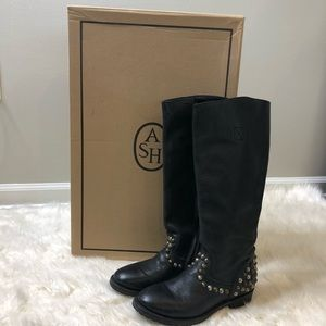 ASH black leather studded riding boots